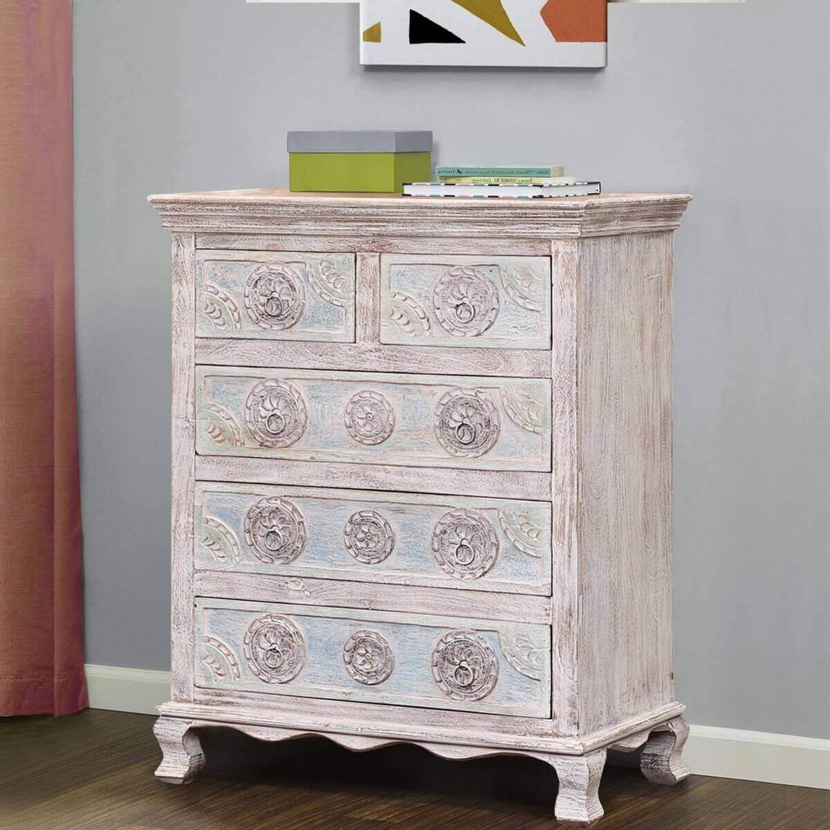 Titon Rococo Inspired Reclaimed Wood White Dresser Chest With 5 Drawers