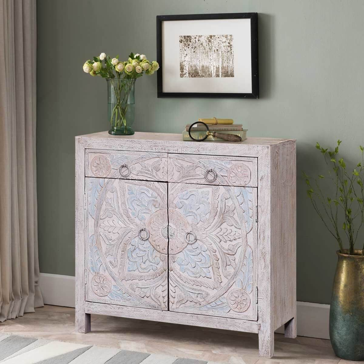 Trinway Mandala Carved Reclaimed Wood Buffet Cabinet w 2 Drawers