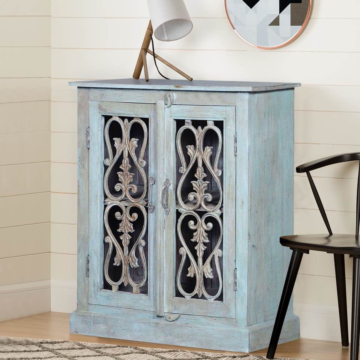 Sardinia Handcrafted Rustic Reclaimed Wood Blue Buffet Cabinet