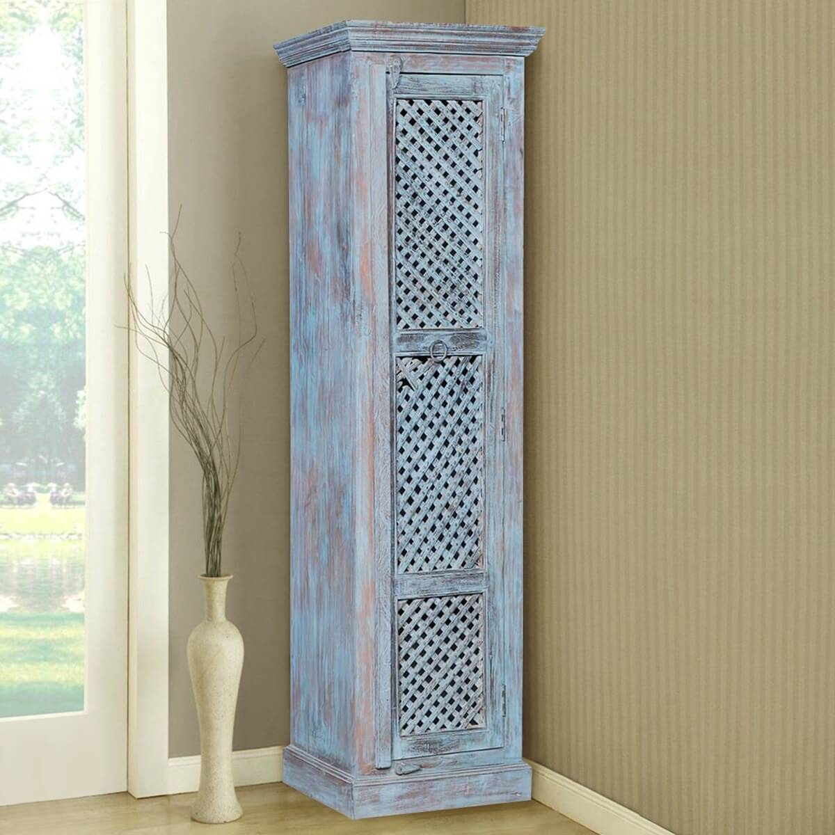 Triana Rustic Reclaimed Wood Freestanding Tall Storage Cabinet
