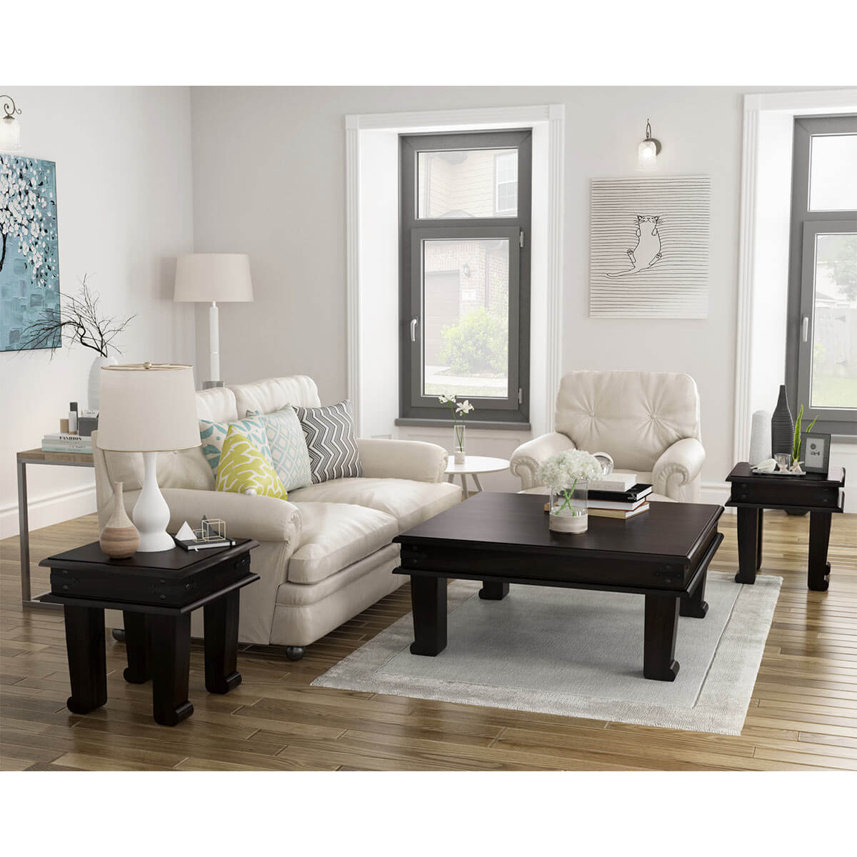 - Silverton Solid Wood 3 Piece Square Coffee Table Set
