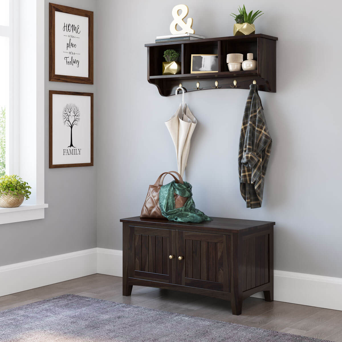 Smithsburg Rustic Solid Wood Wall Hanging Hall Tree Bench with Storage