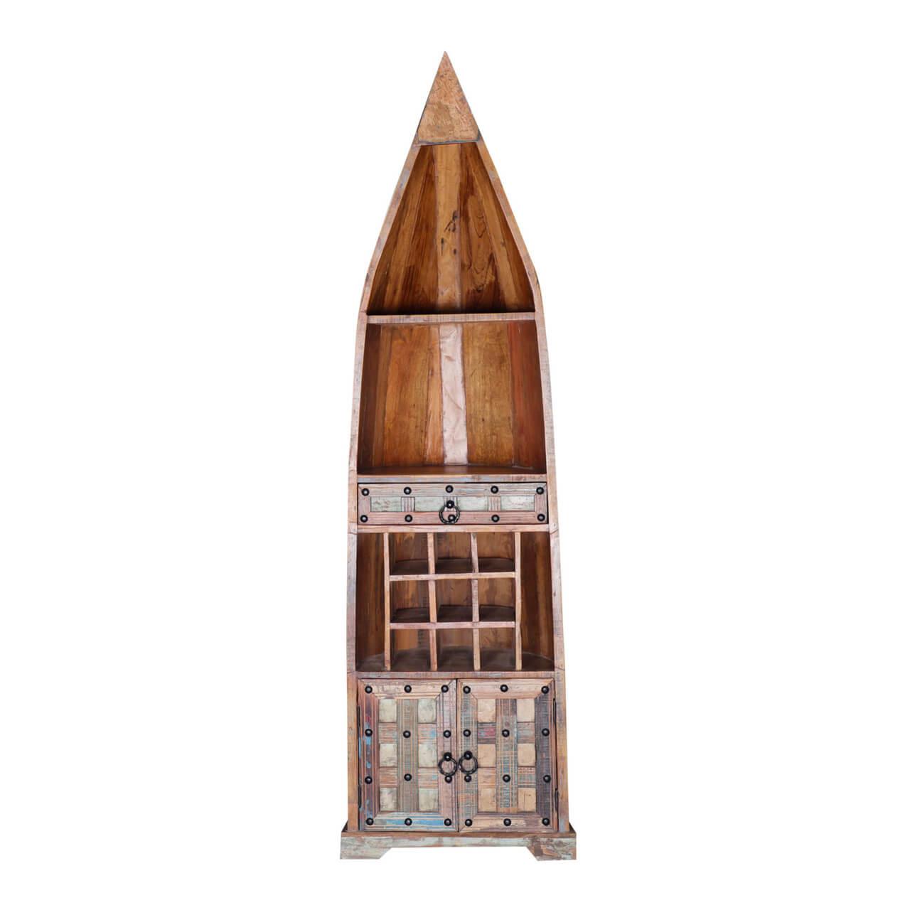 Ariton Reclaimed Wood 1 Drawer Tall Canoe Wine Rack w Cabinet