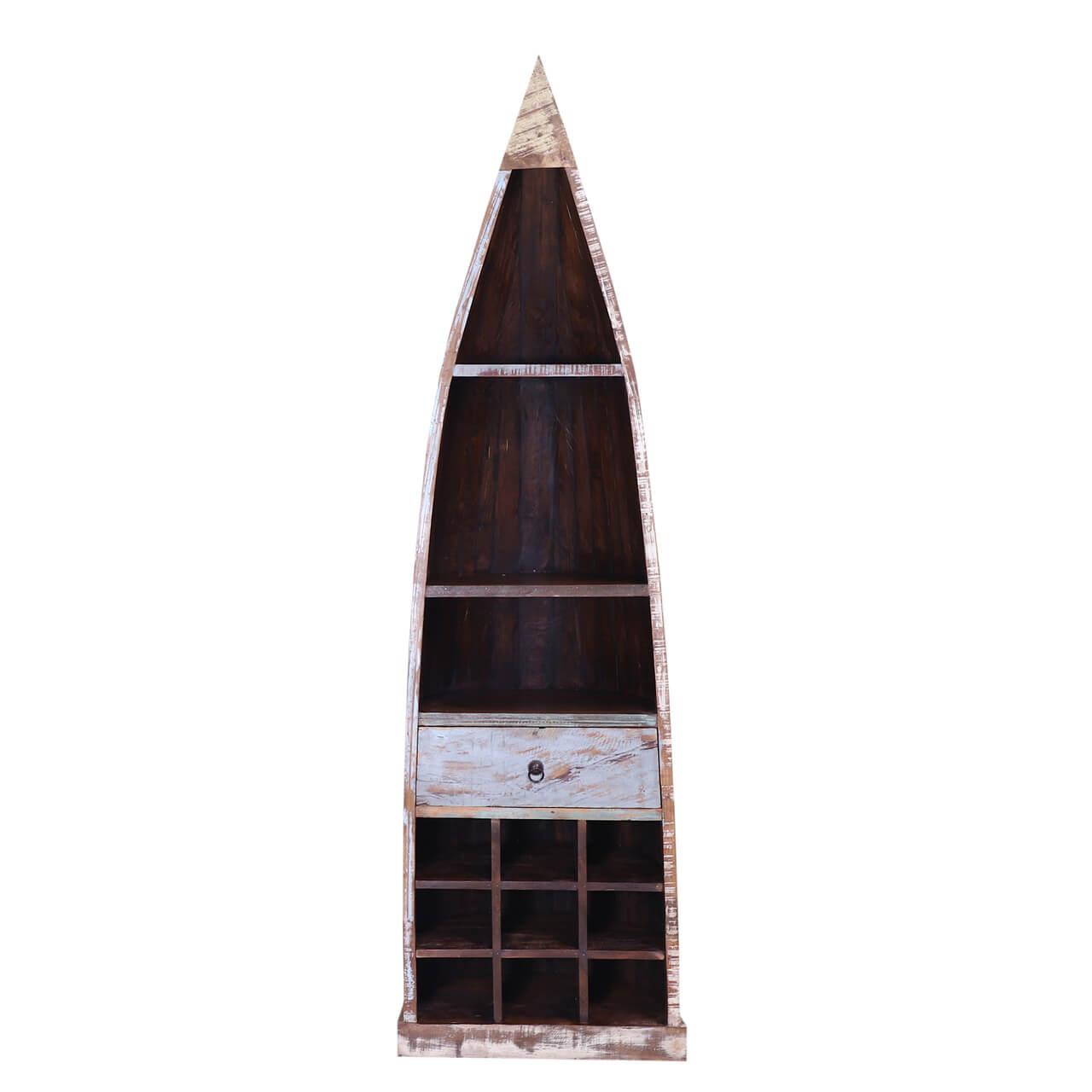 Felix Distressed Reclaimed Wood Tall Canoe Wine Rack