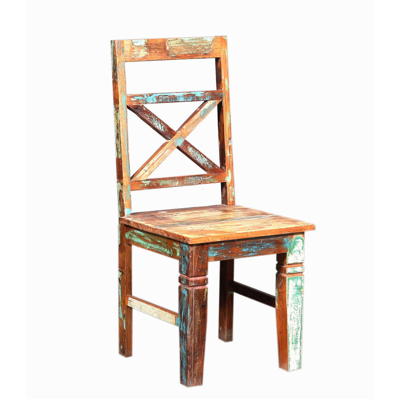 Natick Handcrafted Classic X Back Reclaimed Wood Dining Chair