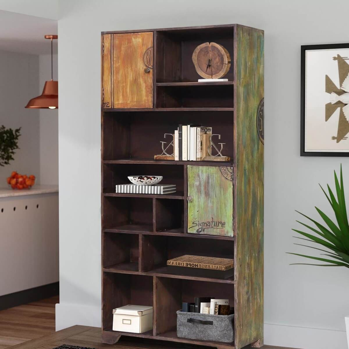 Pellston Reclaimed Wood Handcrafted Bookcase Display Cabinet