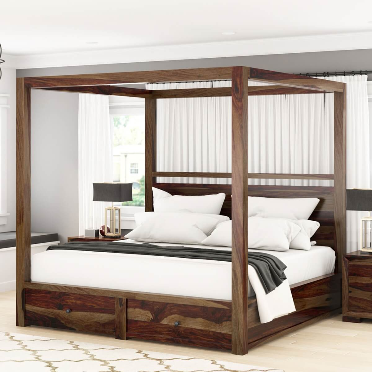 - Farson Contemporary Storage Rustic Canopy Bed