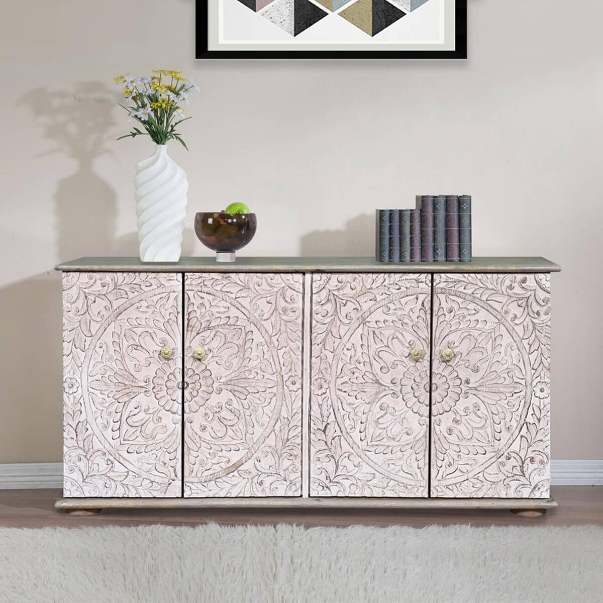 Aaronsburg Mandala White Washed Reclaimed Wood Rustic Buffet Cabinet