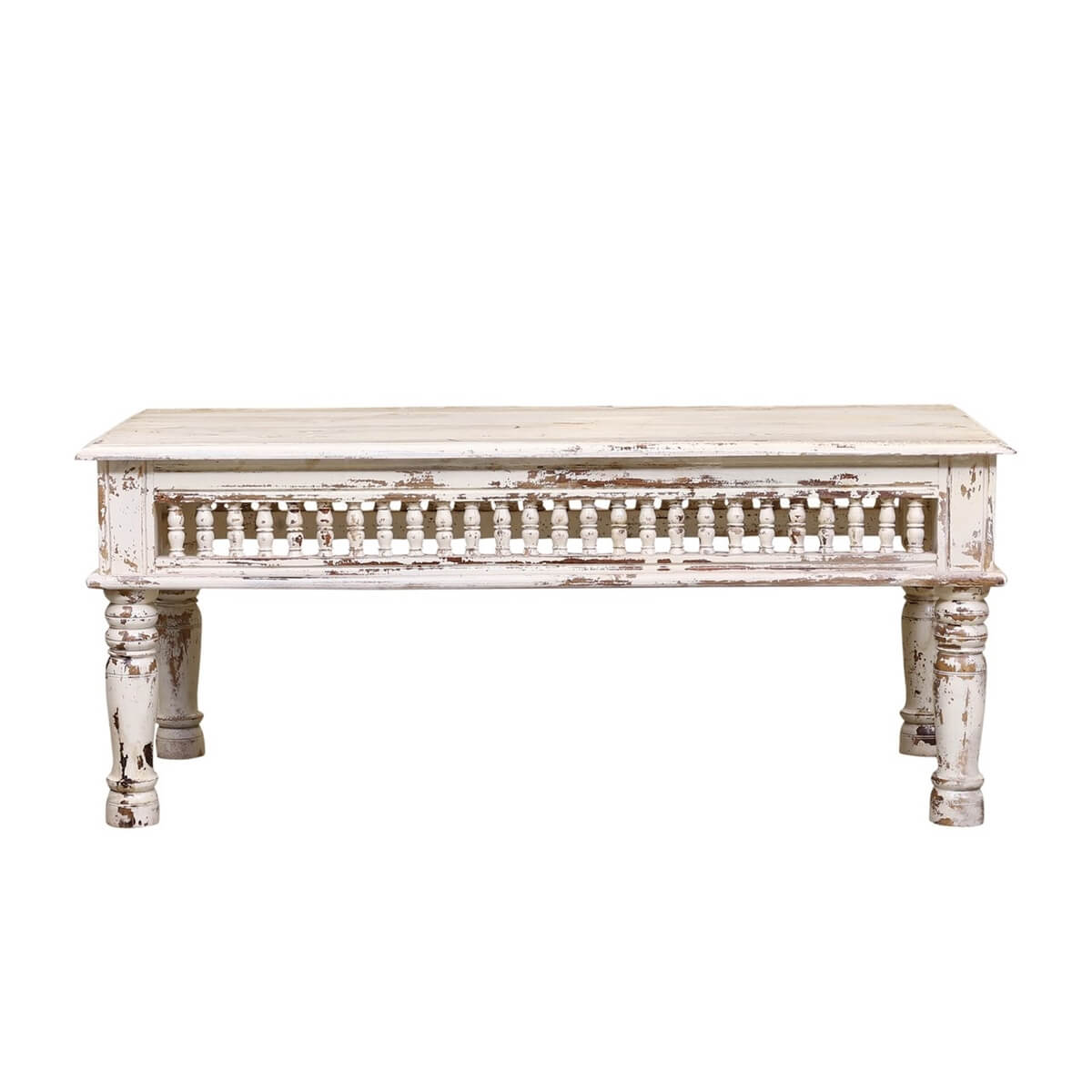 Bowlus White Distressed Reclaimed Wood Railing Rustic Coffee Table