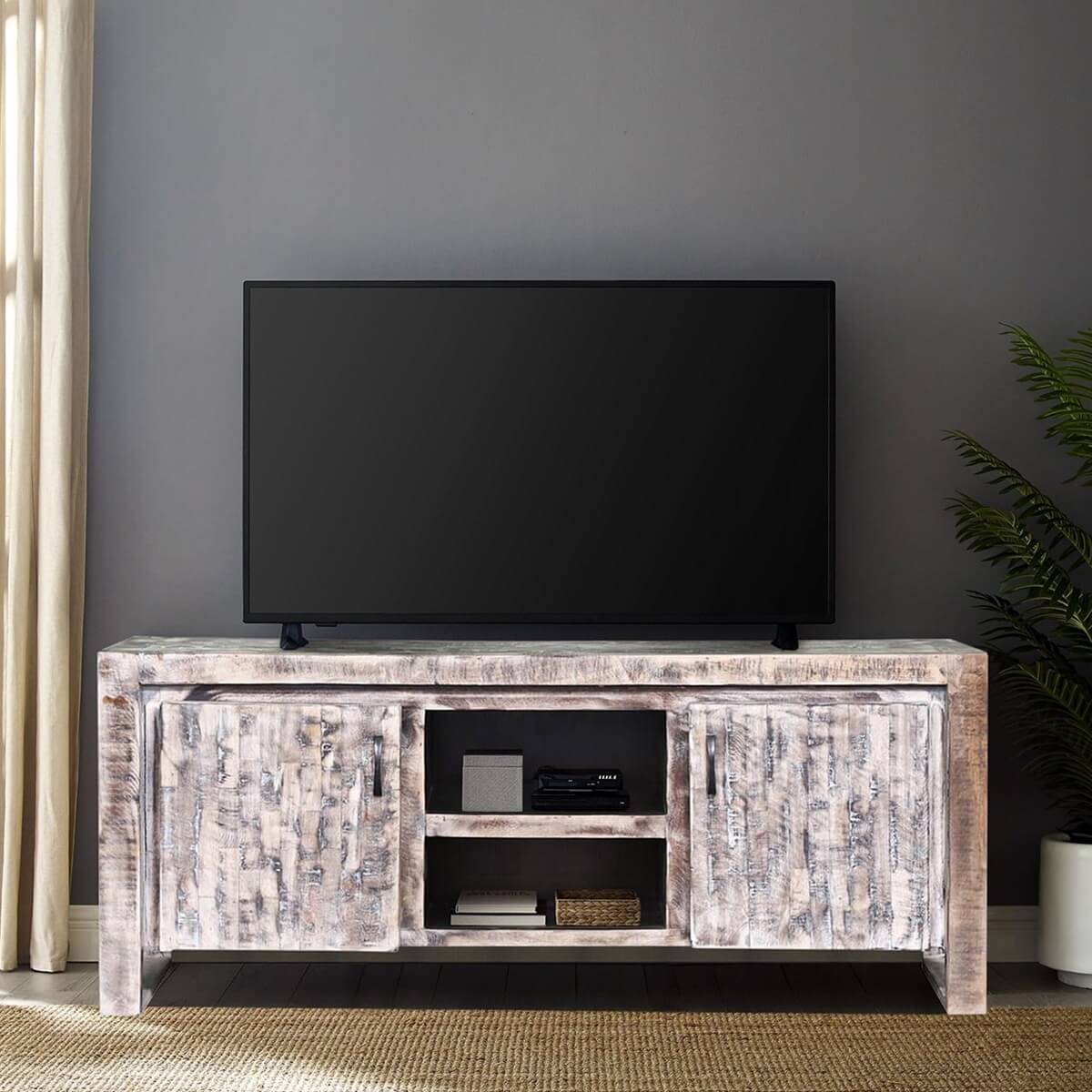 Wheaton White Wash Reclaimed Wood Media Console Cabinet
