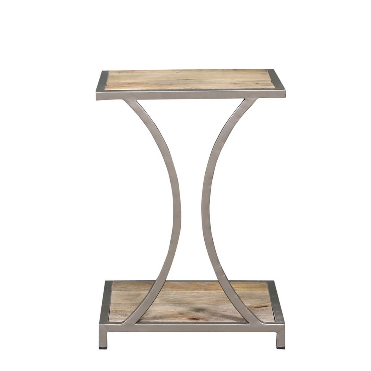Almon Reclaimed Wood Curve Iron Industrial End Table