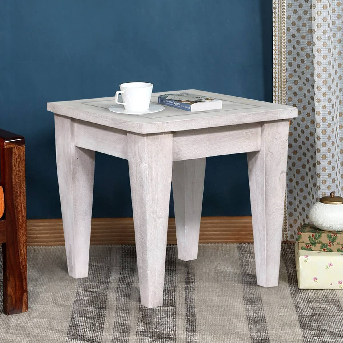 Parma Farmhouse Style Reclaimed Wood Rustic End Table