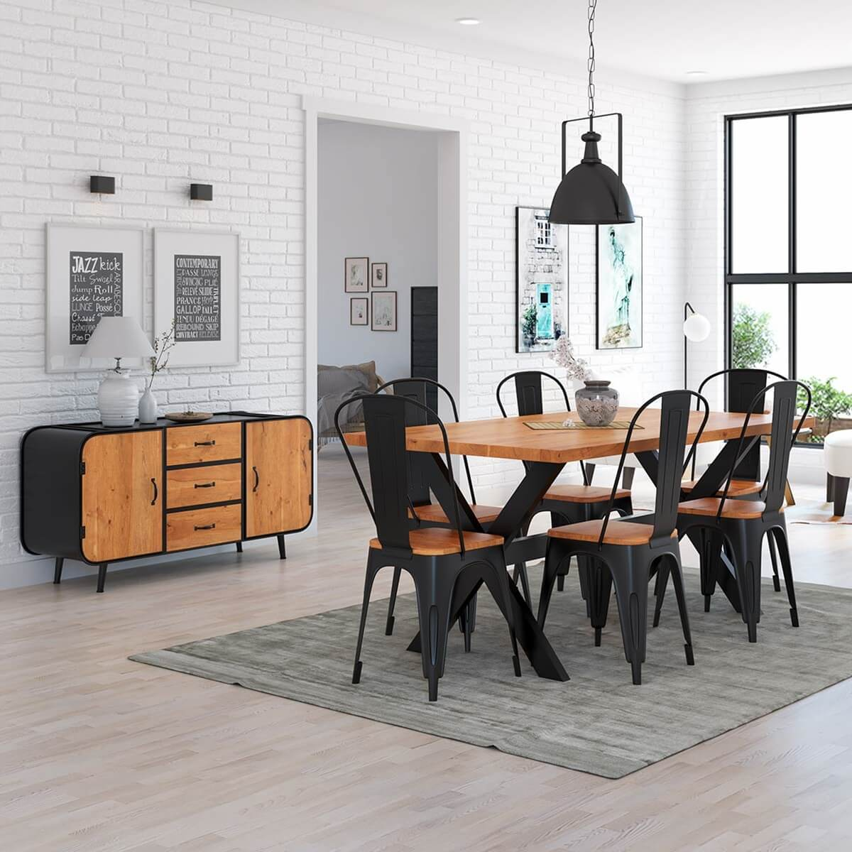 Langley Rustic Solid Wood 8 Piece Industrial Iron Dining Room Set