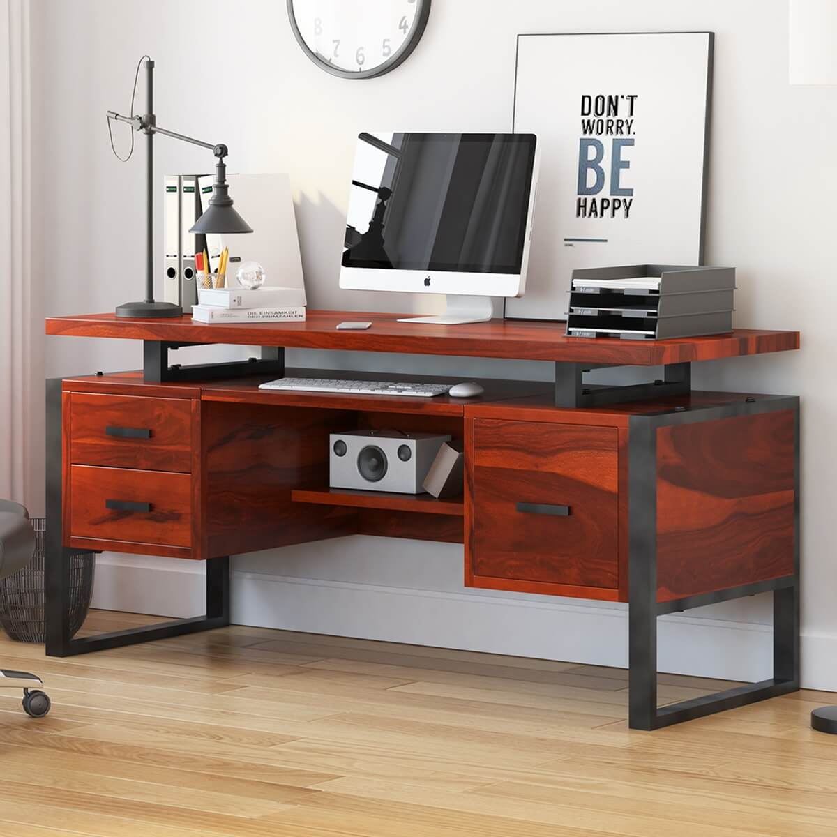 Hondah Solid Wood 64 Large Industrial Home Office Computer Desk