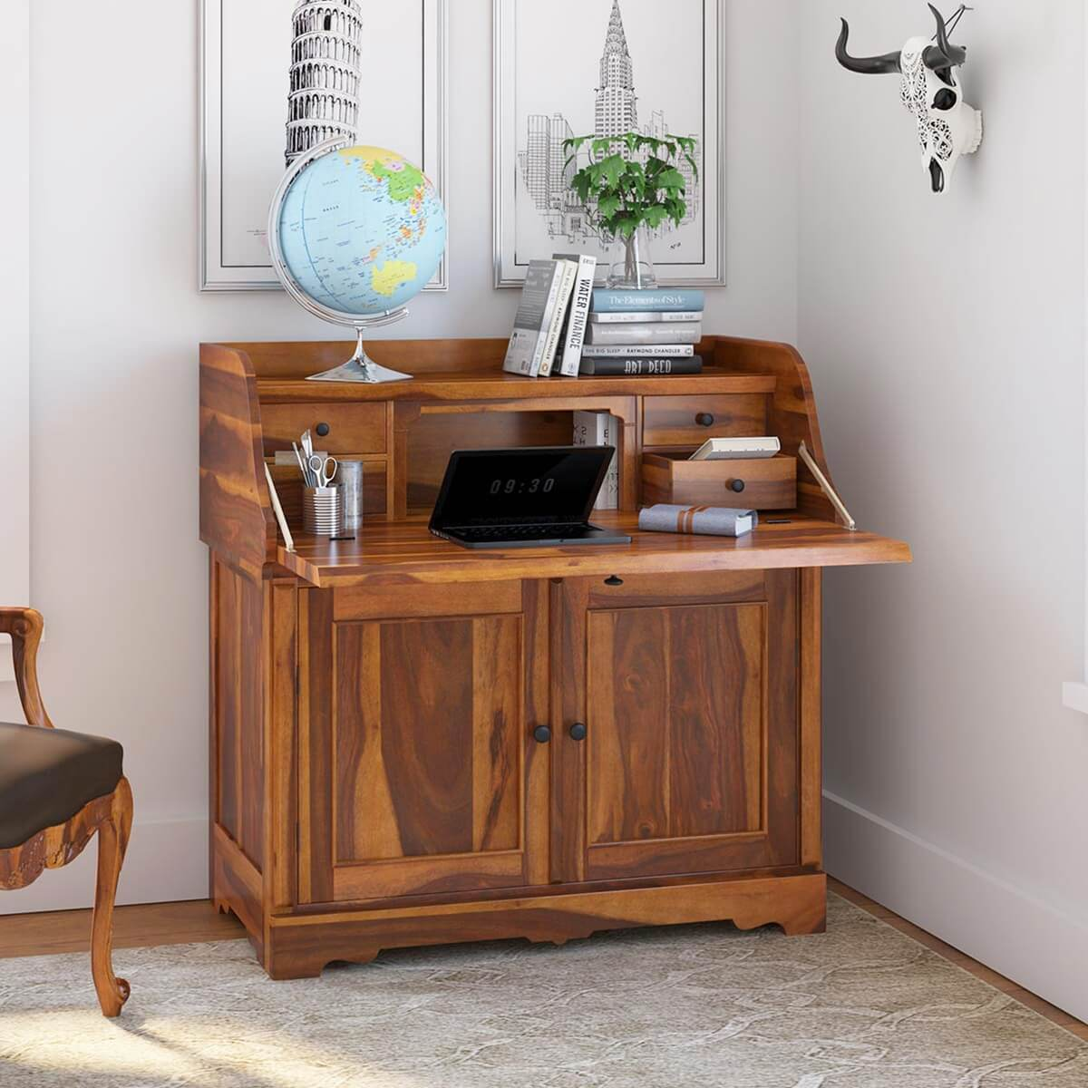 Canistota Rustic Solid Wood Drop Front Home Office