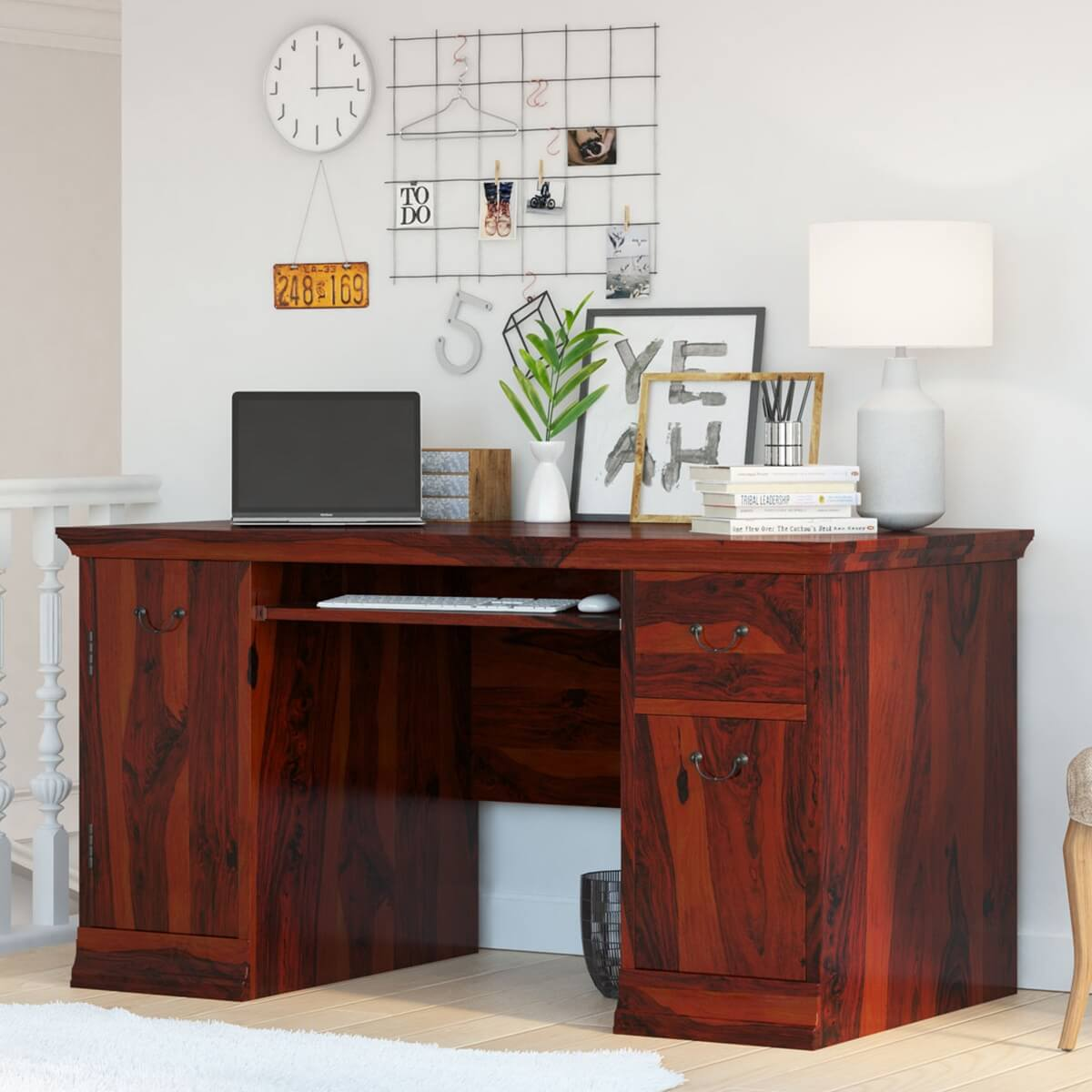 Brooten Rustic Solid Wood Home Office Computer Desk with Keyboard Tray