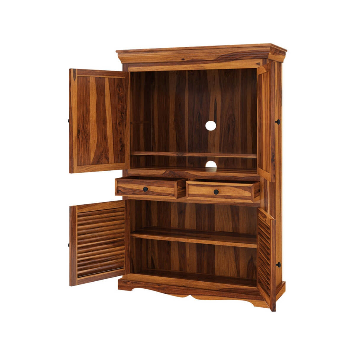 Tanay Louvered Doors Rustic Large Solid Wood TV Armoire ...