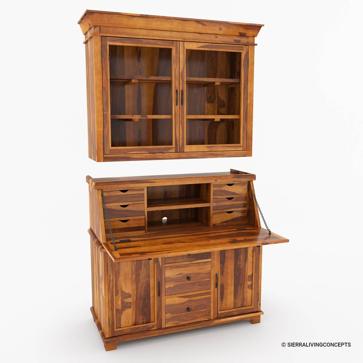 Weldona Rustic Solid Wood Drop Front Home Office Secretary