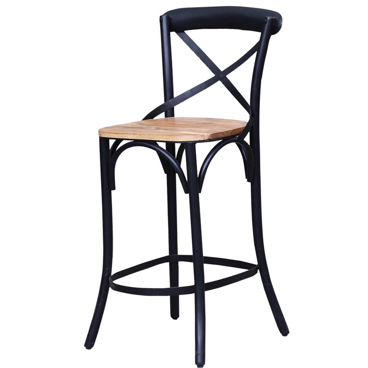 Stennis Solid Wood Iron Industrial Bar Chair
