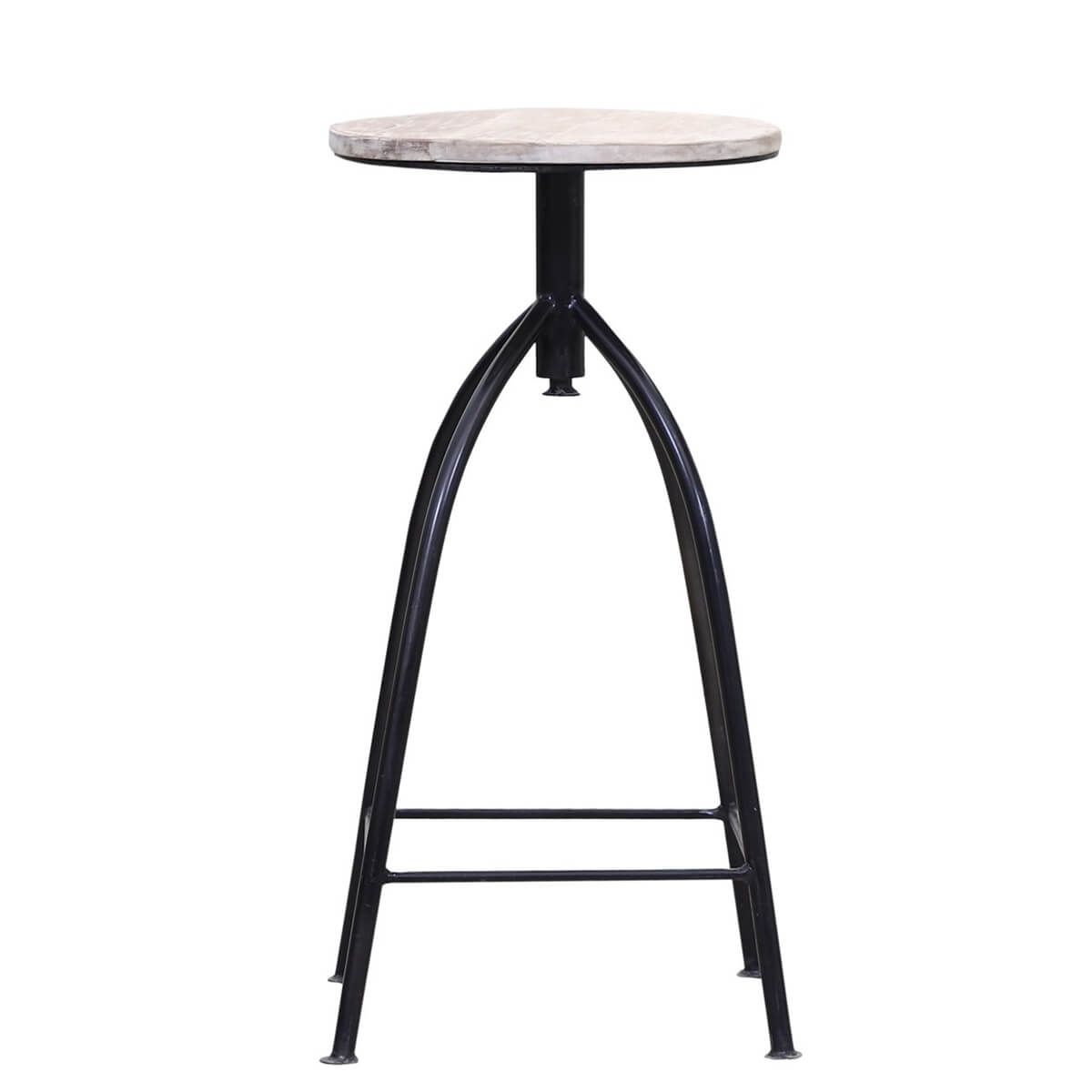 Pesina Reclaimed Wood Iron Leg Industrial Bar Stool
