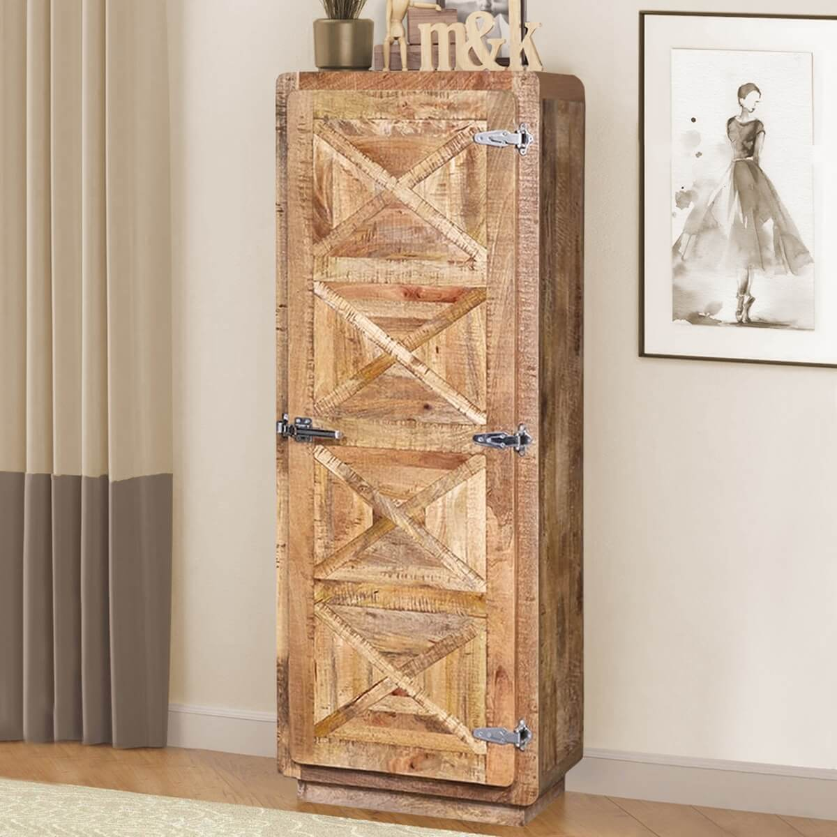 Beclabito Rustic Reclaimed Wood Single Door Armoire Storage Cabinet