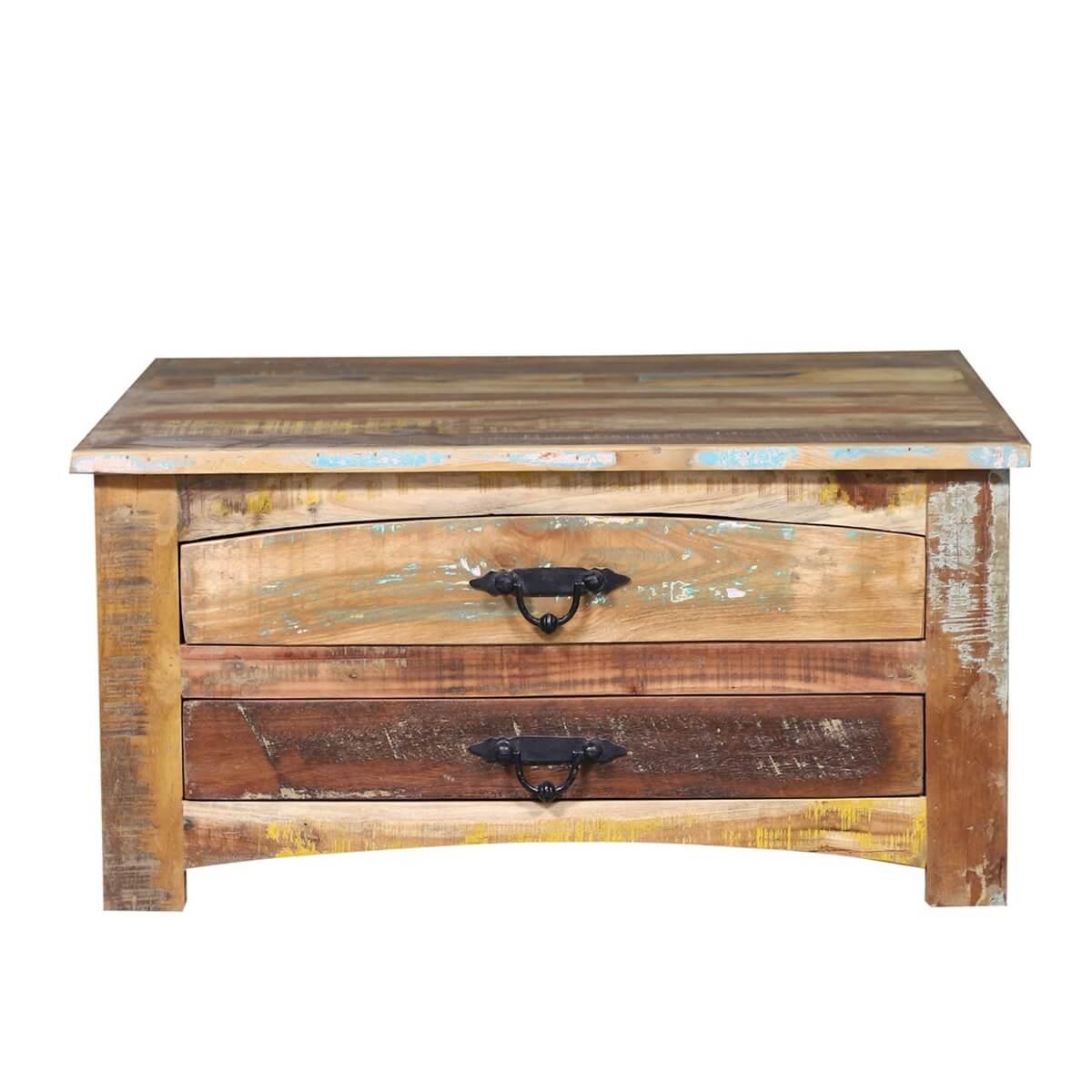 Emerado Farmhouse Style Reclaimed Wood 4 Drawer Storage Coffee Table