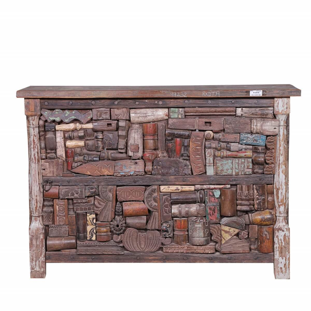 Alfortville Mosaic Inlay Reclaimed Wood Accent Console Bar Table