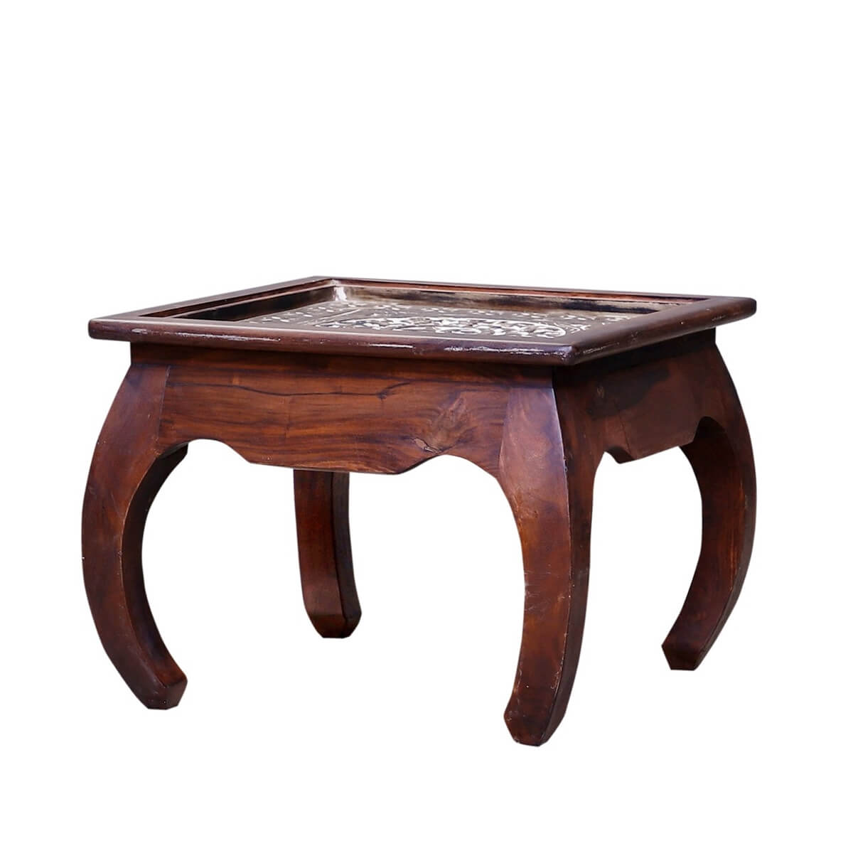 Everson Reclaimed Wood Hand Carved Alpana Top End Table