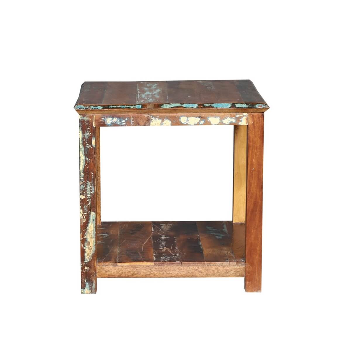 Corinne Distressed Reclaimed Wood Square 2 Tier Rustic End Table