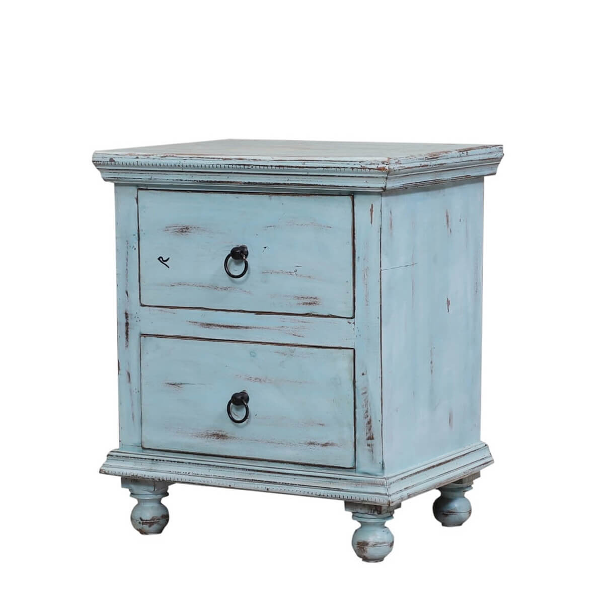 Corydon Distressed Blue Reclaimed Wood 2 Drawer Nightstand