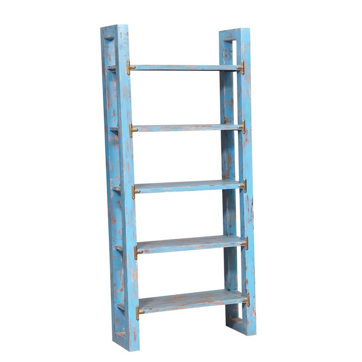 Oretta 5 Shelf Leaning Ladder Rustic Bookcase
