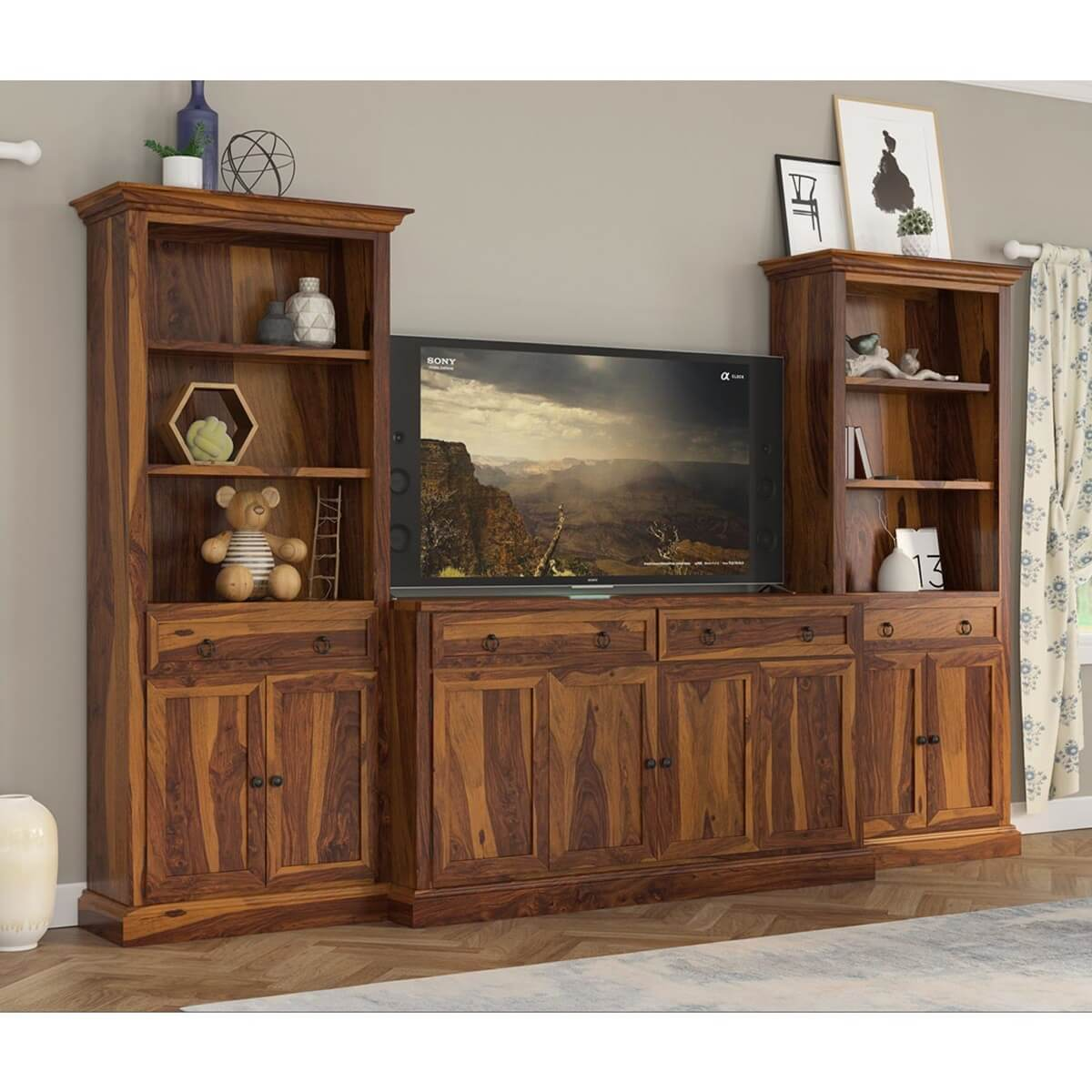 Lilesville Rustic Solid Wood TV Entertainment Center with Bookshelves