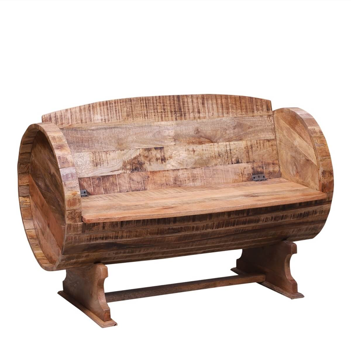 Couva Rustic Reclaimed Wood Bench With Storage