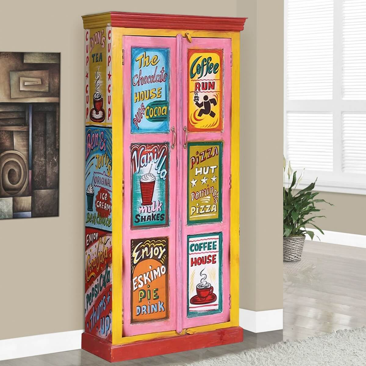 Corunna Multi-Color Handpainted Reclaimed Wood Armoire