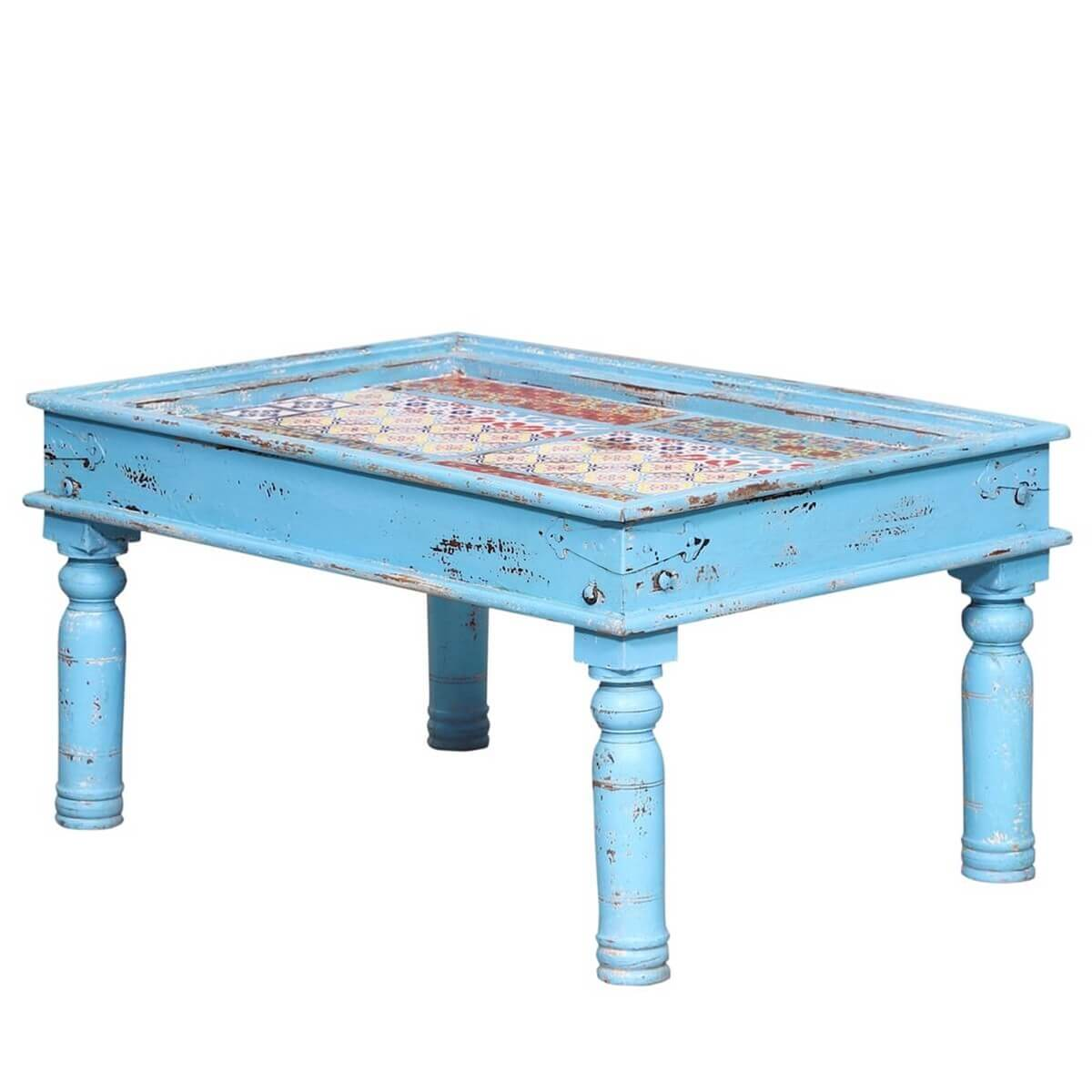 Rennert Distressed Blue Reclaimed Wood Tile Fitted Coffee Table
