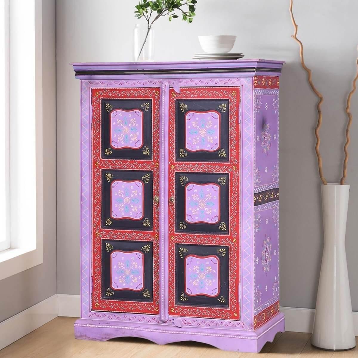 Merida Hand Painted Solid Wood Storage Cabinet