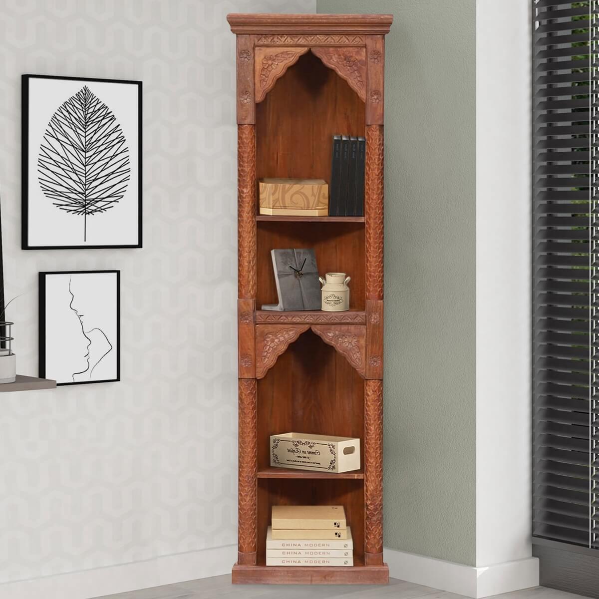 Wailuku Reclaimed Wood 4 Shelf Corner Bookcase