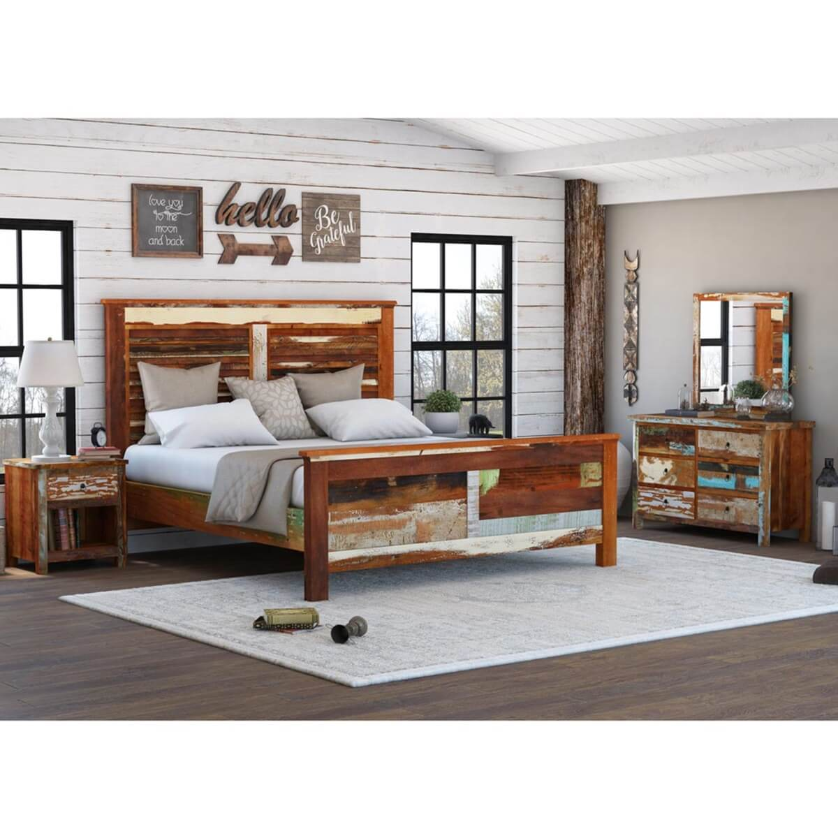 Eunola Reclaimed Wood 9 Piece Bedroom Set