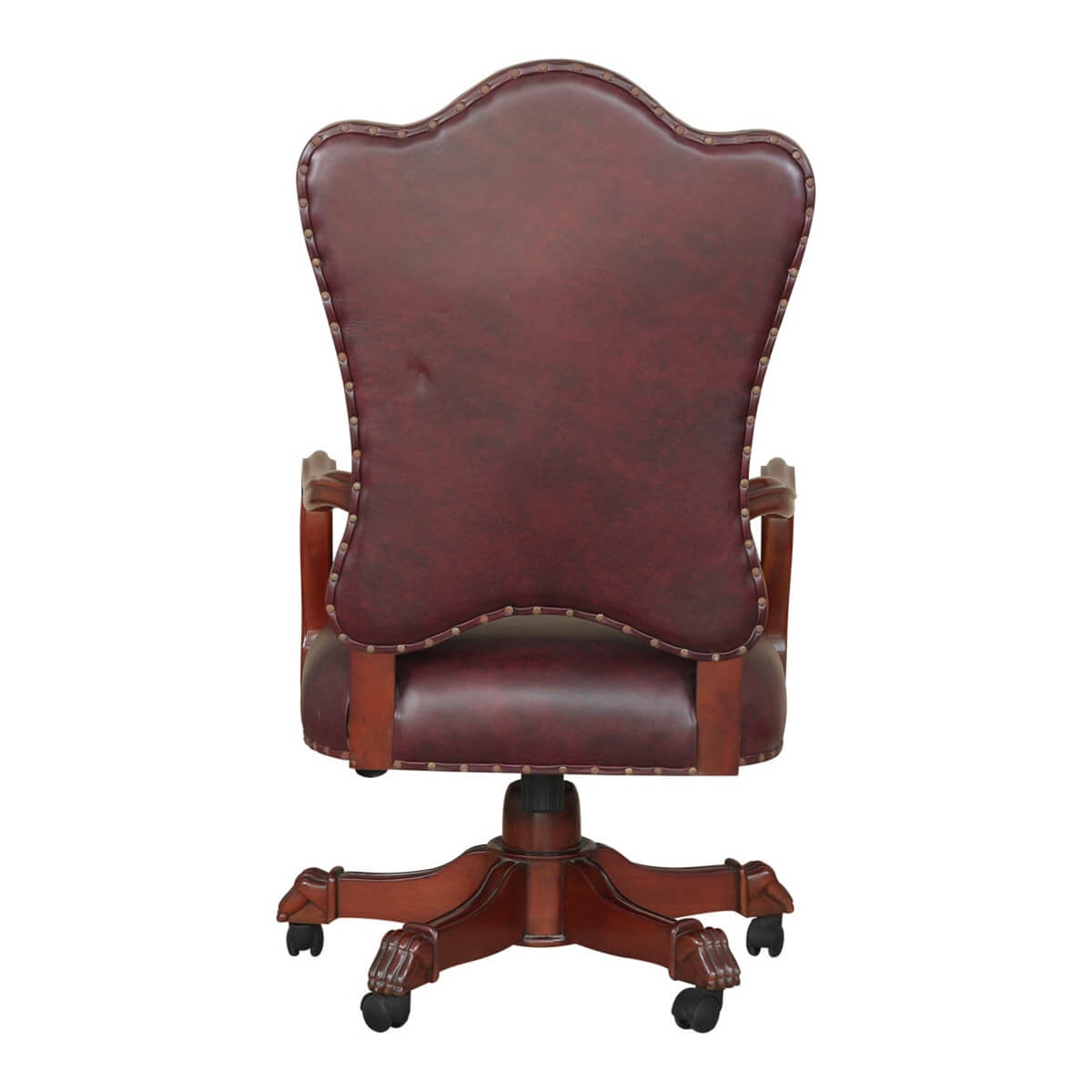 Wondrous Vonda Mahogany Wood Leather Tufted Rolling Executive Office Chair Short Links Chair Design For Home Short Linksinfo