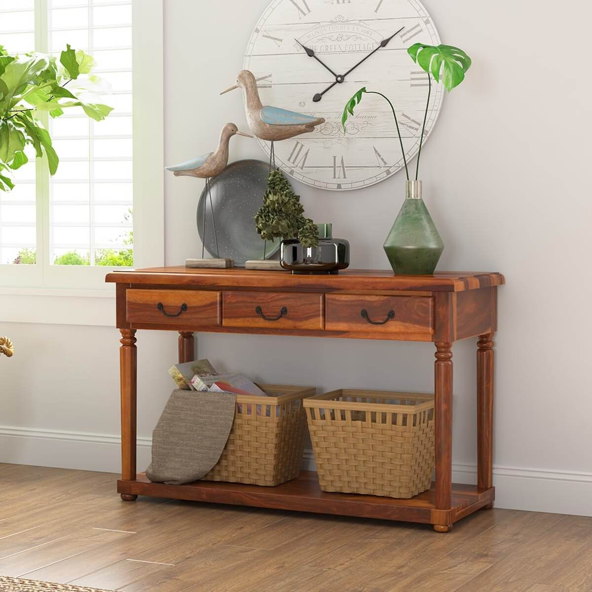 Isleton Rustic Solid Wood 3 Drawer Baluster Console Hall Table
