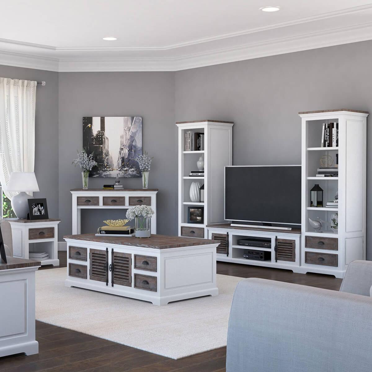 Danville Modern Teak and Solid Wood 7 Piece Living Room Set