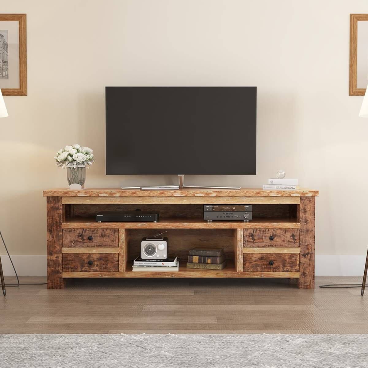 Britain Handcrafted Rustic Teak Wood 4 Drawer TV Media Console