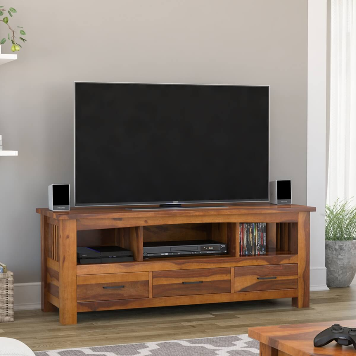 Jeddito Mission Rustic Solid Wood Tv Stand Media Console With 3 Drawer