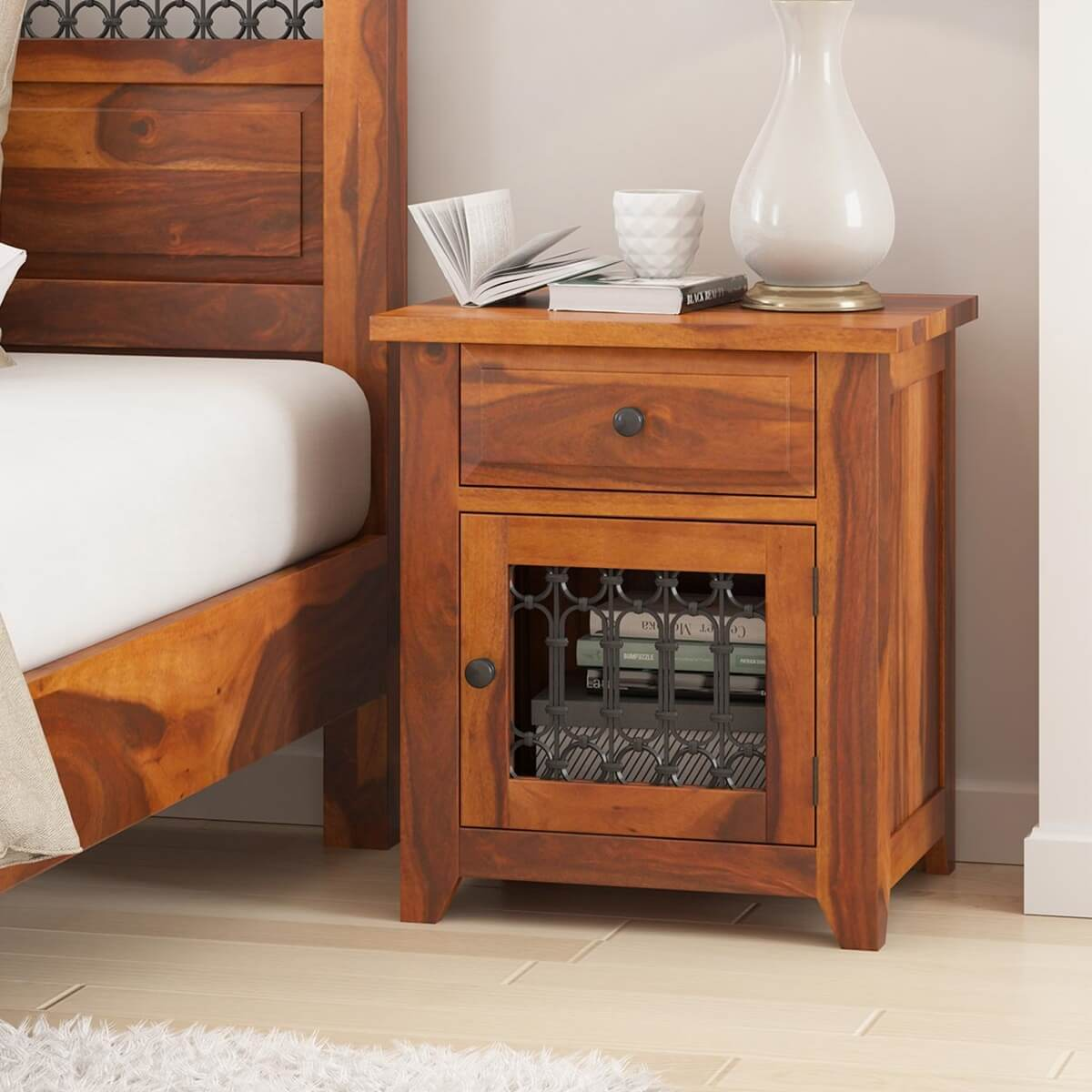 San Francisco Rustic Solid Wood Iron Grill 1 Drawer Nightstand