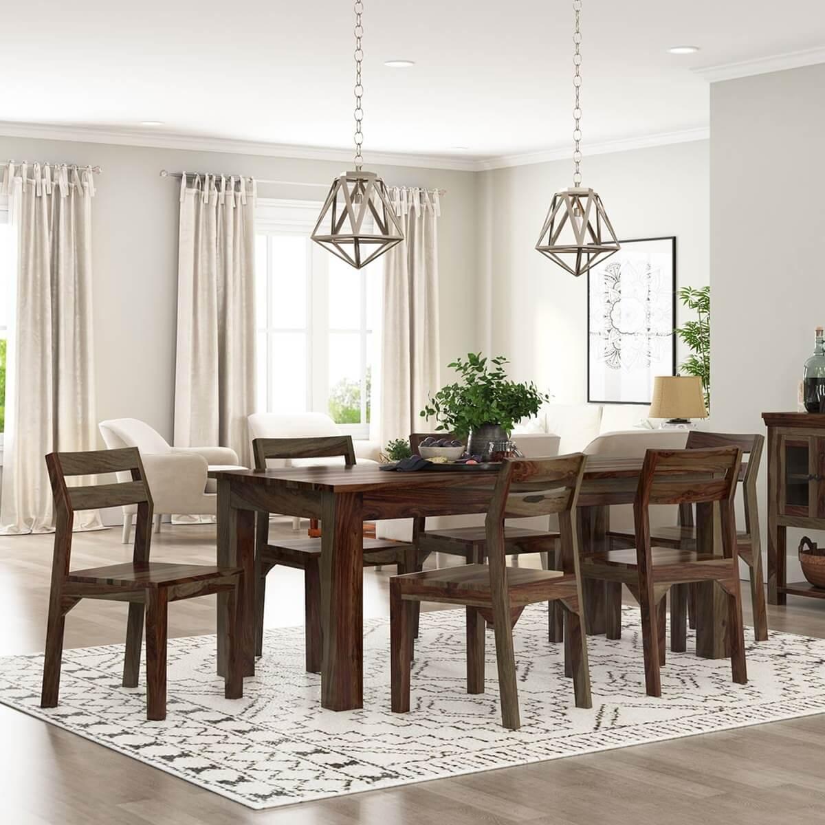 Modern Rustic Sierra Solid Wood 72 Dining Table & Chair Set
