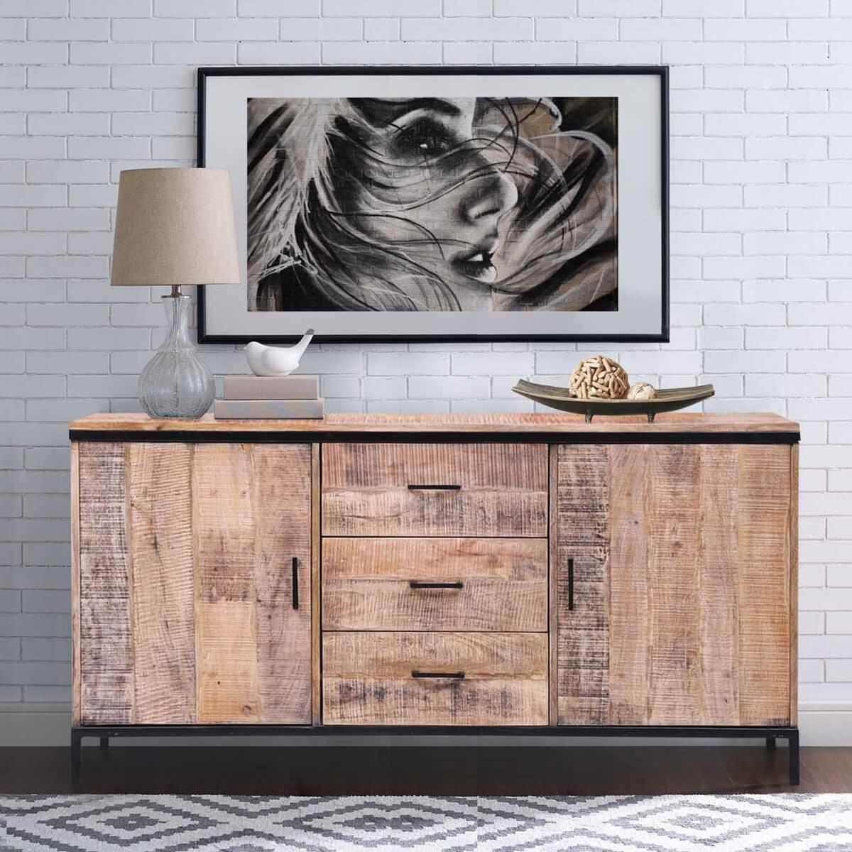 Bakersfield Rustic Reclaimed Wood 3 Drawer 64 Large Sideboard Cabinet