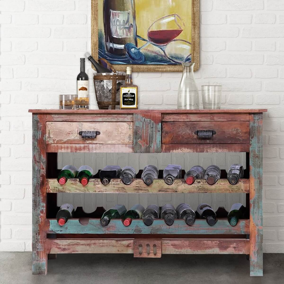 Ventura Reclaimed Wood Wine Rack Console Table with Drawers