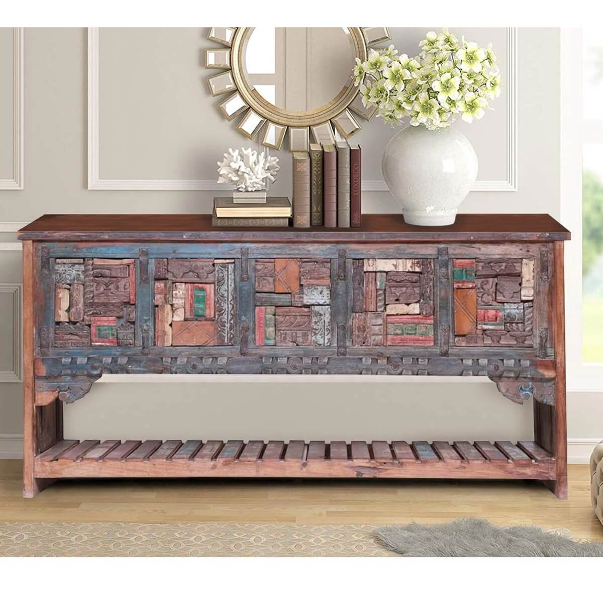 Tacoma 2 Tier Carved Mosaic Reclaimed Wood Entryway Console Table