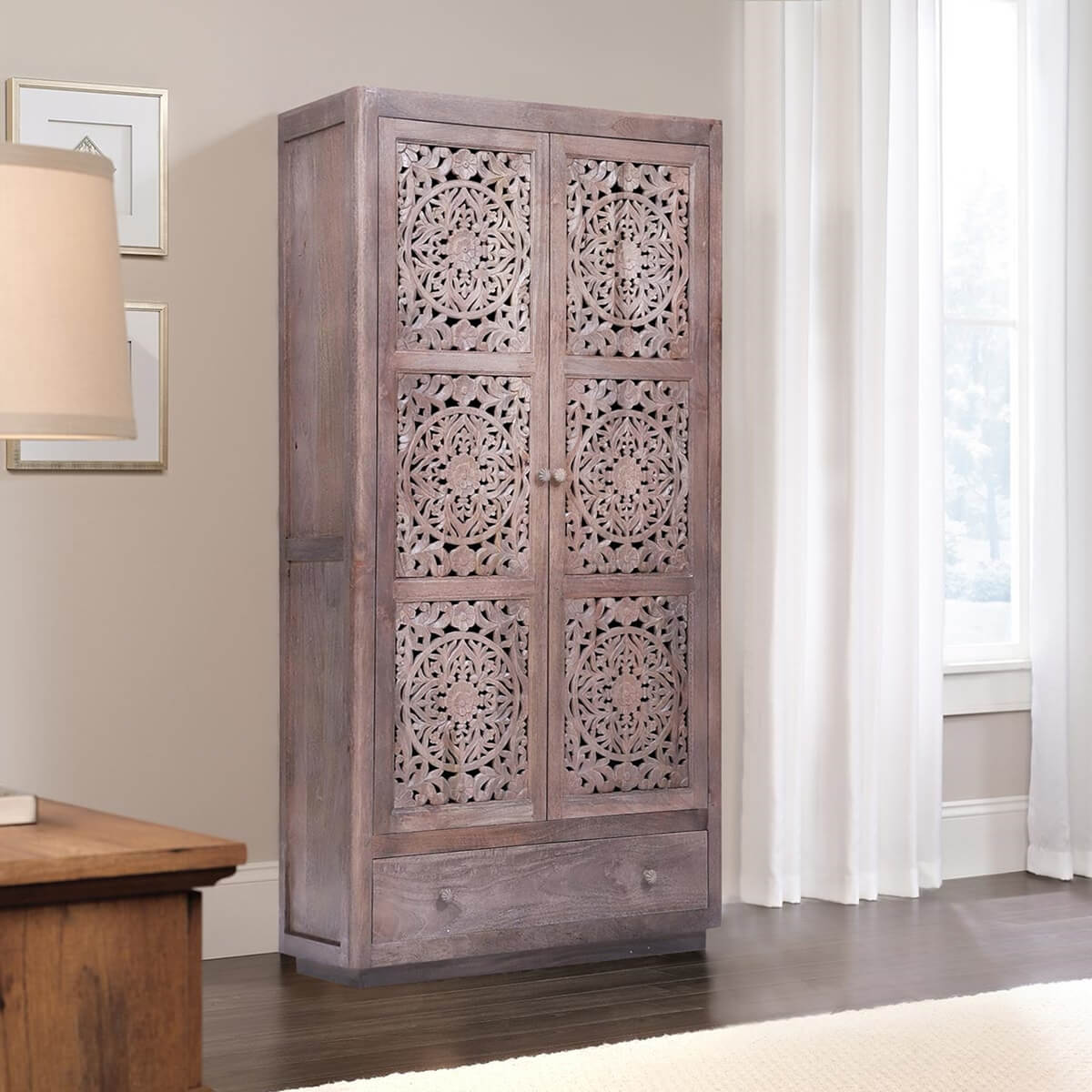 Wichita Rustic Handcarved Reclaimed Wood Armoire w Shelves And Drawer