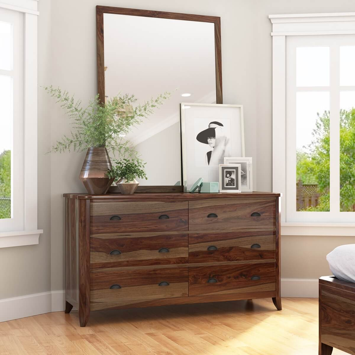 Thornton Rustic Solid Wood Bedroom Dresser With 6 Drawers